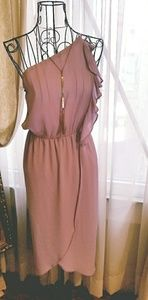 One Shouldered Ruffle Dress in Dusty Rose